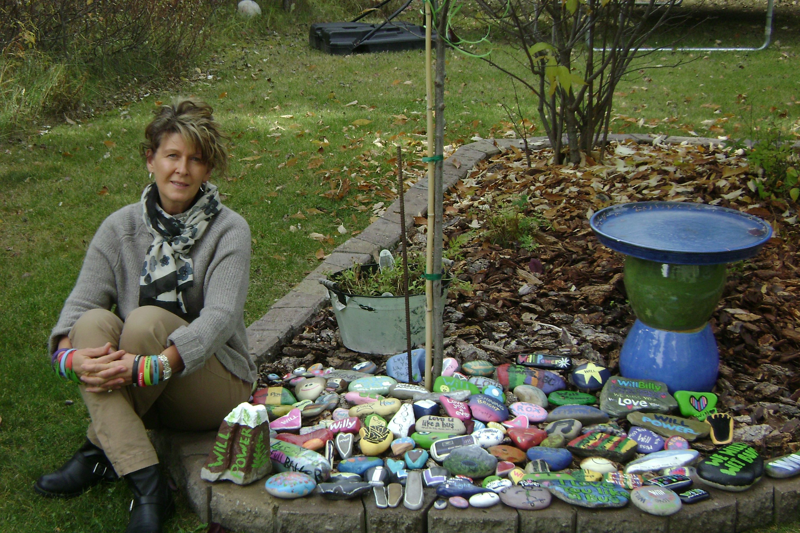 Joni and the WillBilly Tree and our Painted Rock Garden